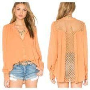 Free People Crochet Button Up Blouse Large Peach